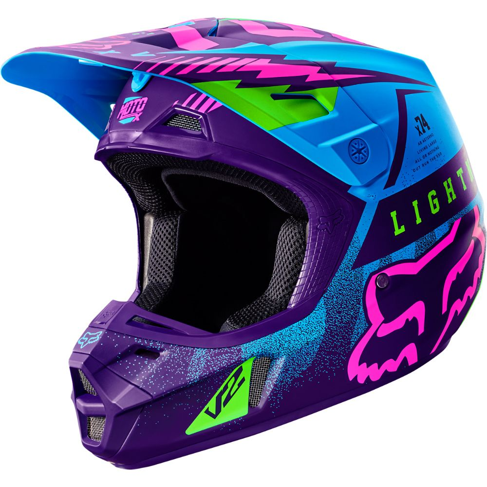 Fox 2016 Le V2 Vicious Blue Purple Helmet Dirt Bikes Dirt Bike