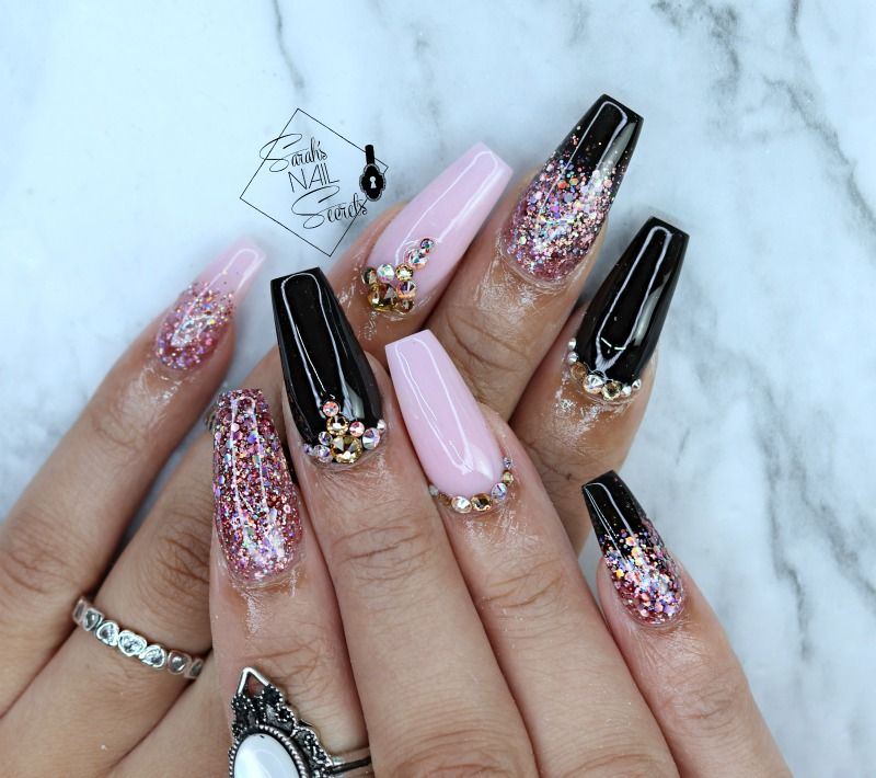 Pink And Black Nails Coffin Nails Designs Summer Coffin Nails