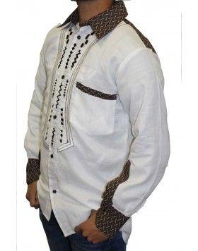 Mens Slim Fit Traditional Shwe Shwe Shirt