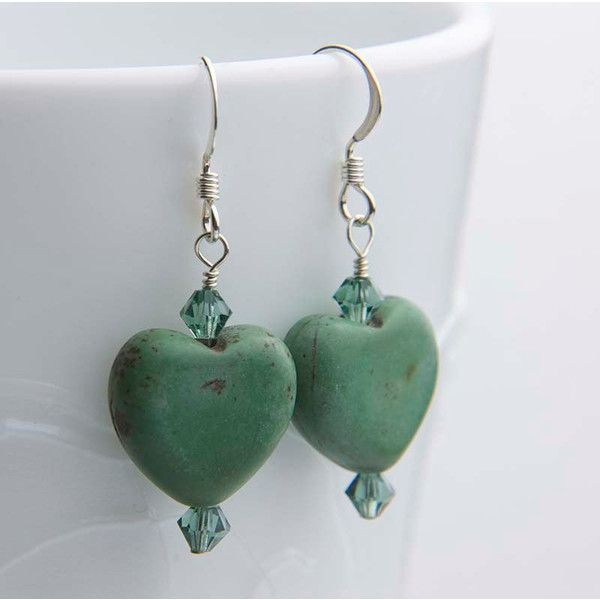 Green Gemstone Heart Shaped Earrings Sterling Silver 16 Liked On Polyvore