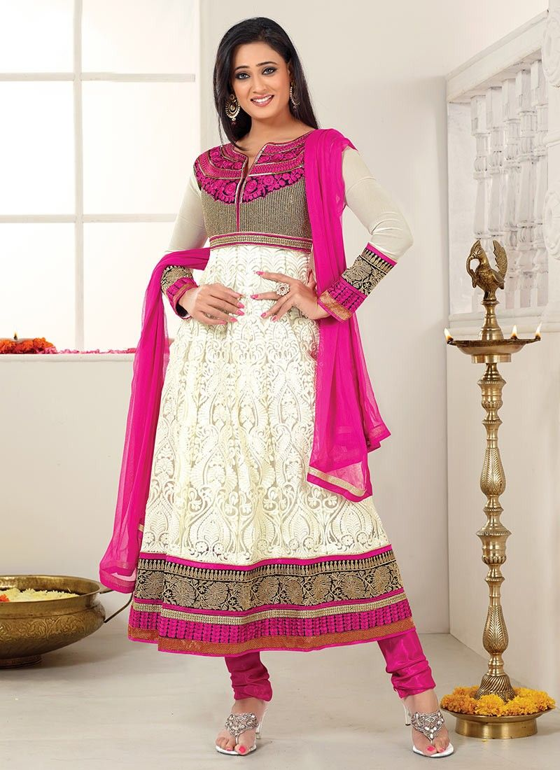 Cream Shweta Tiwari Churidar Suit Anarkali