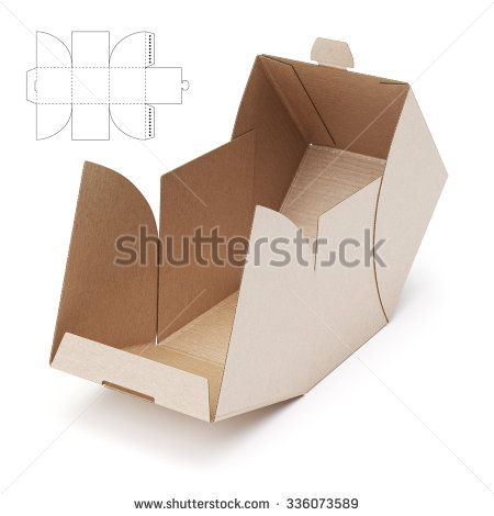 empty open cube box with die cut template embalagem pinterest