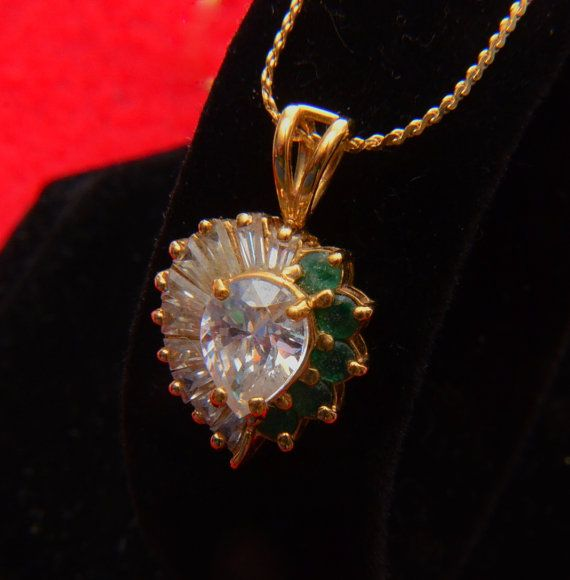 Vintage Diamond  Emeald Heart Pendent  Sterling Silver by DLDowns, $51.00