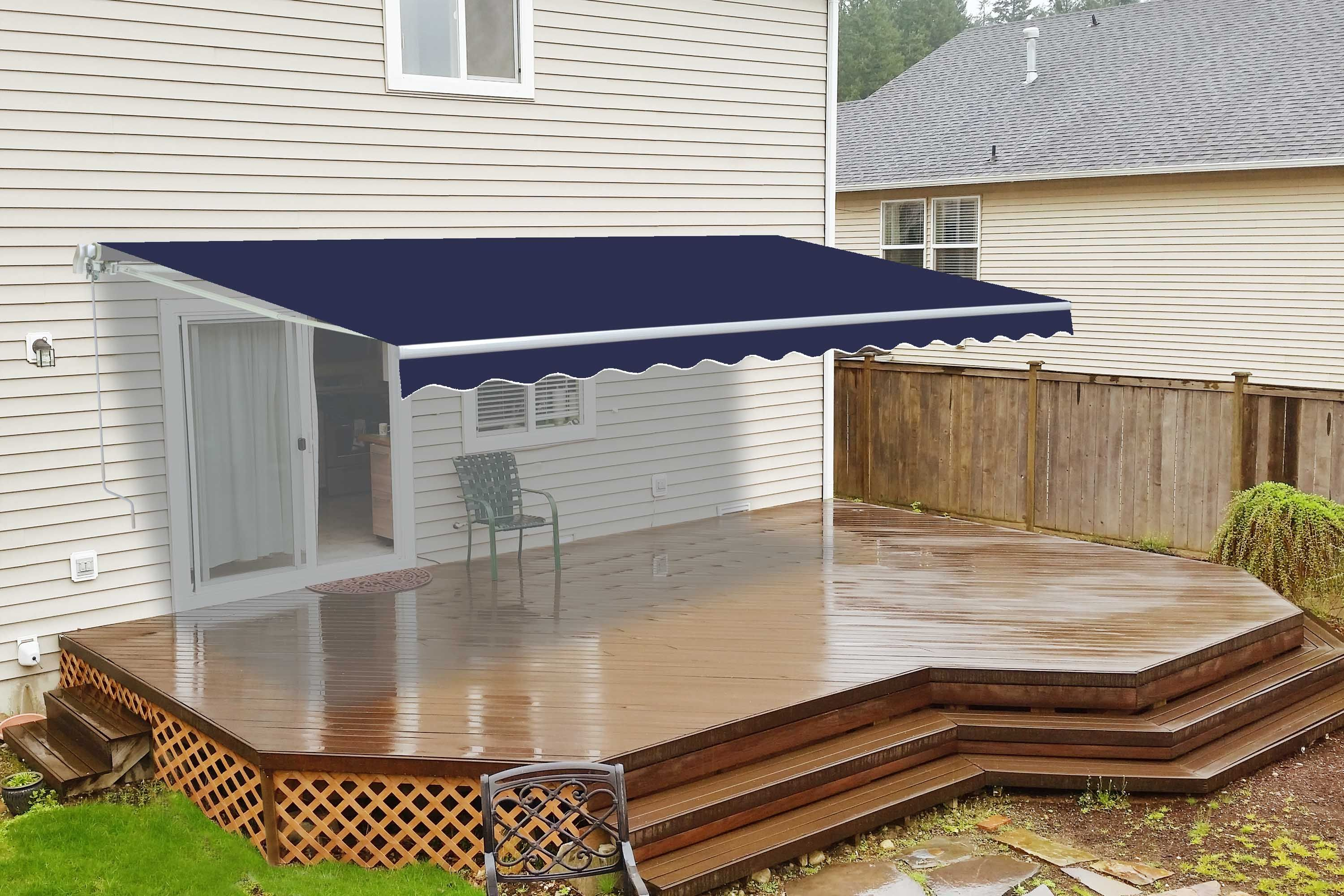 Retractable Patio Awning 12x10 Feet Blue Aleko Patio Awning Patio Sun Shades Small Backyard