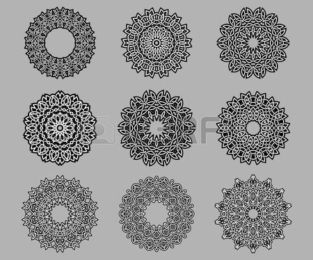 Circular ornate and intricate Celtic ornaments in black and white isolated over grey background Stock Vector