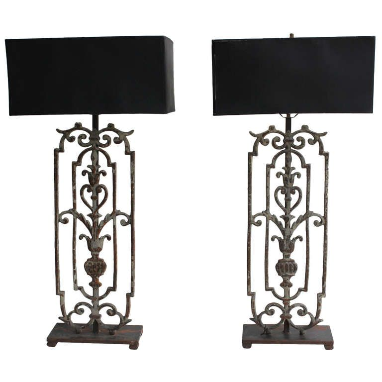 Pair Of Tall Decorative Wrought Iron Table Lamps 1stdibs Com Iron Lamp Wrought Iron Design Wrought Iron Table