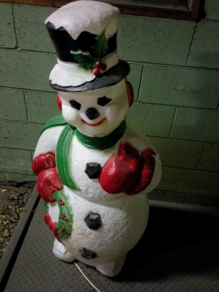 "CHRISTMAS BLOW MOLD YARD DECORATION 43"" SNOWMAN PLASTIC"