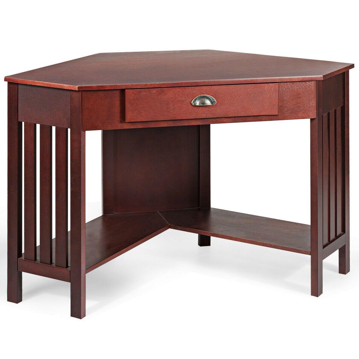 Corner Writing Desk with Drawer & Shelves Writing desk