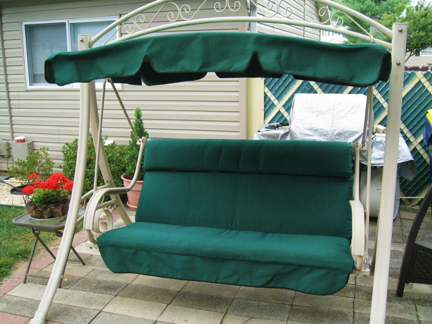 Another Made In Usa Costco Patio Swing Replacement Canopy And Cushion Beautiful Durable Sunbrella Fabric Hemlock Tweed
