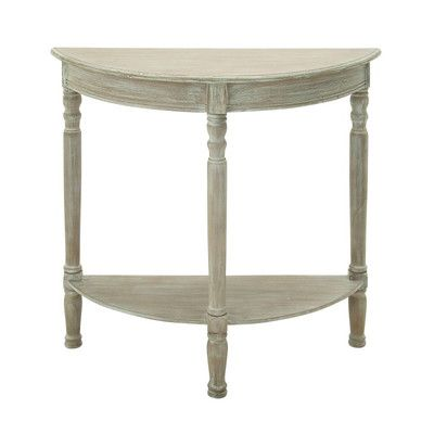Cole & Grey Wood Half Round Console Table Color: Whitewash Taupe