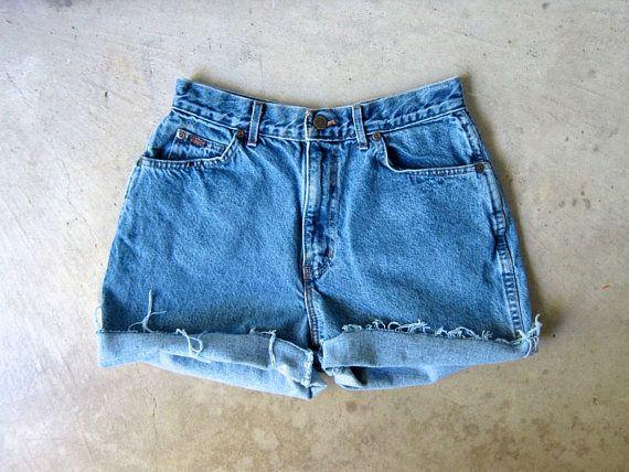 Shorts 80s Vintage CHIC Blue Shorts Denim Off Waist Jean High Cut EqxRASCqnw