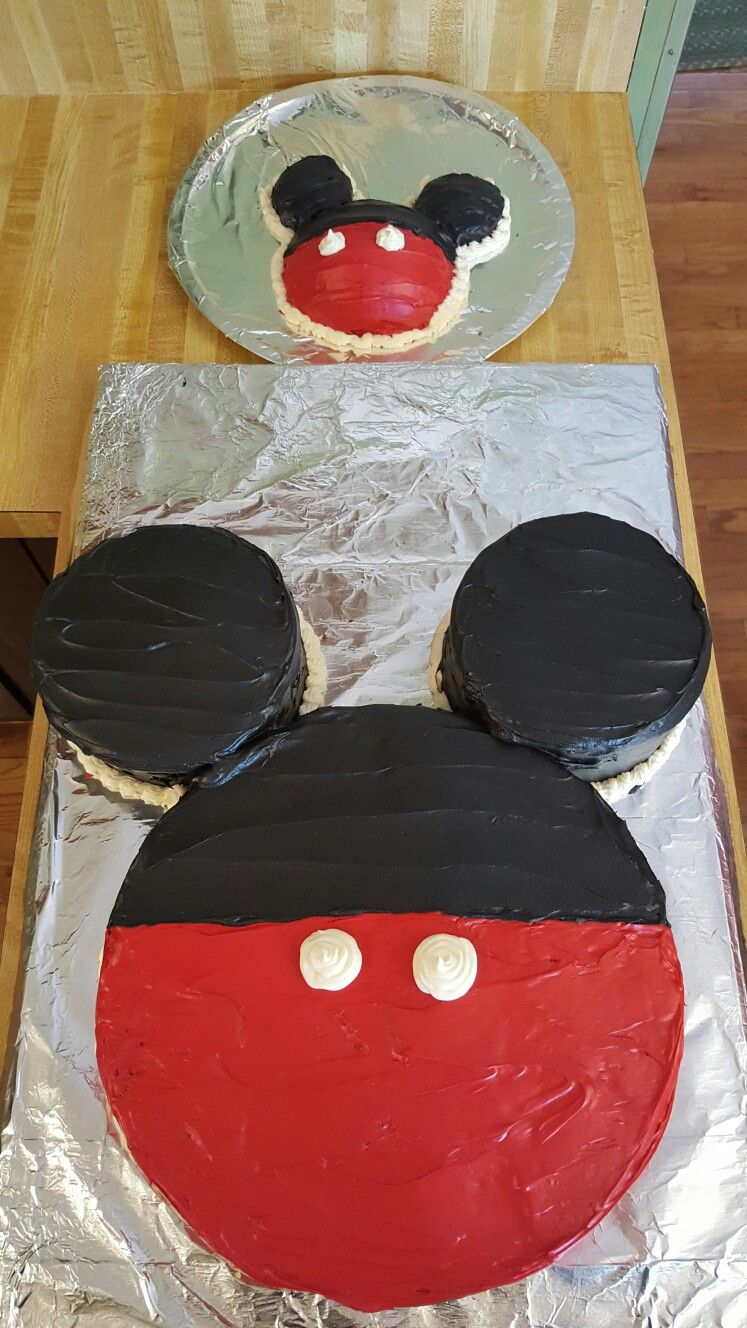 Homemade Mickey Mouse First Birthday Cake Complete With Smash Cake