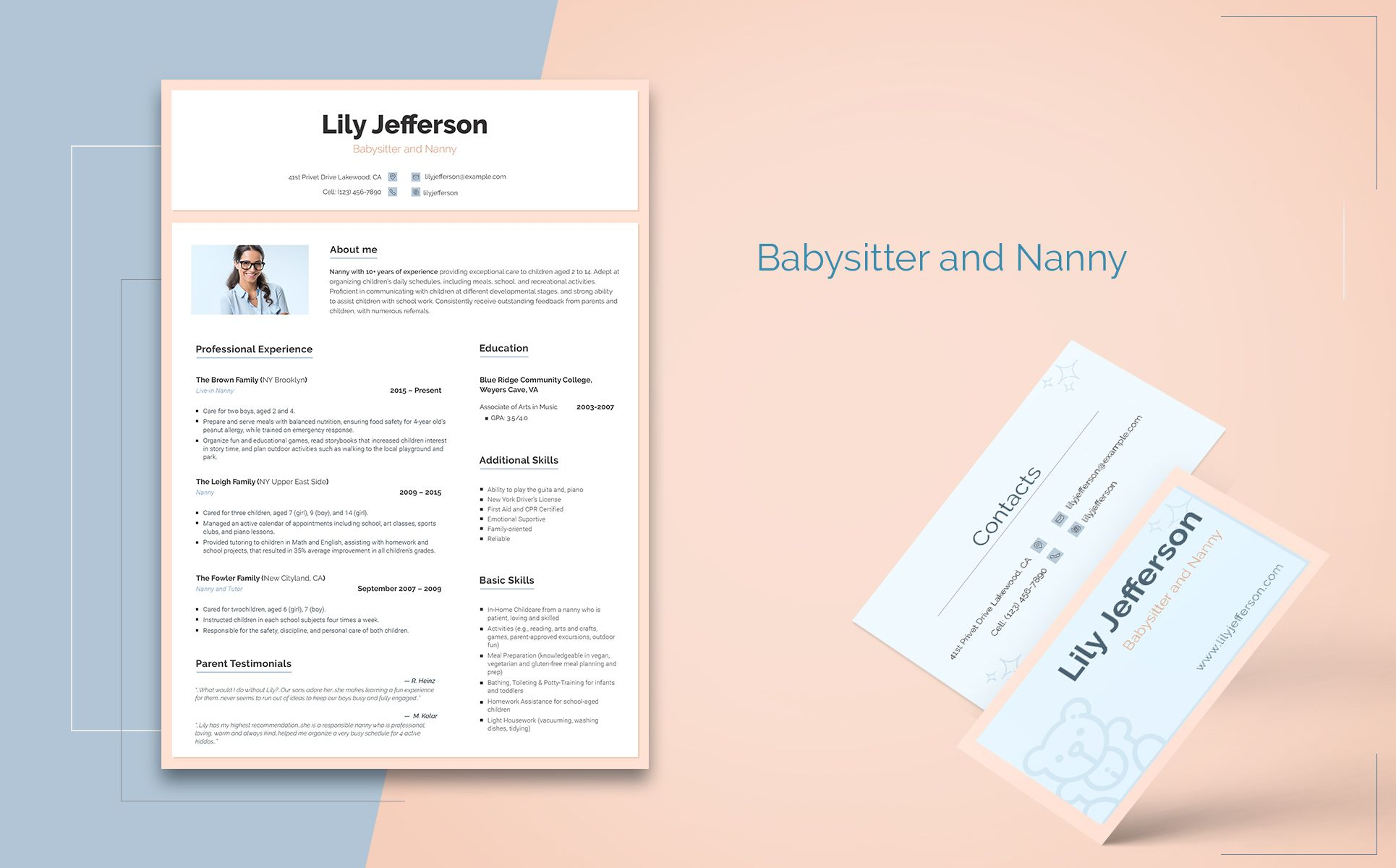 lily jefferson babysitter and nanny resume template industrial