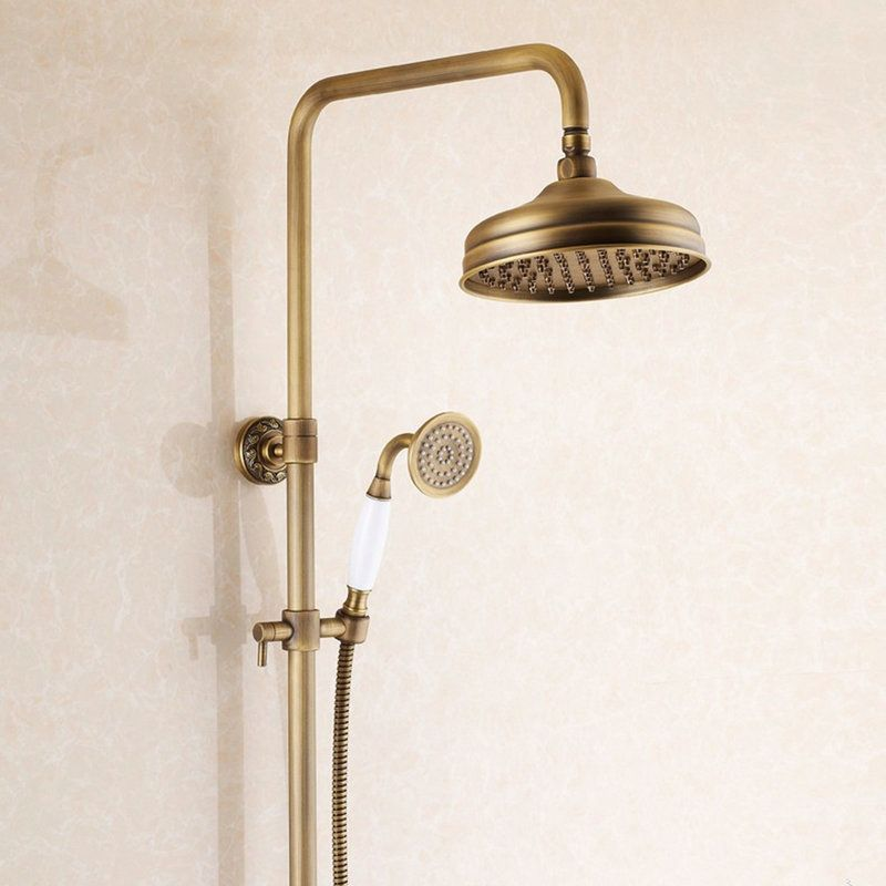 Photo of Shop for Antique Brushed Finish Brass Bathroom Shower Faucet with Handheld Showe…