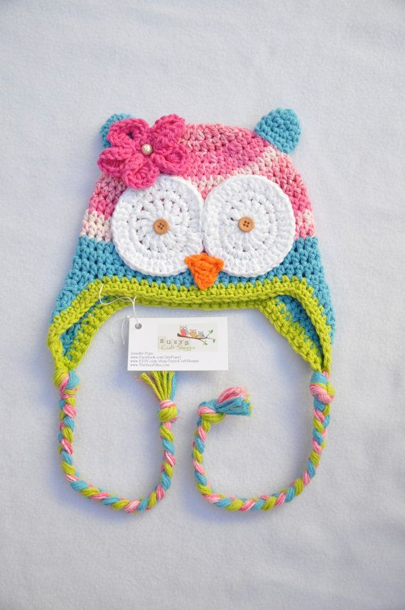 Blue, Pink, White, and Lime Green Crochet Owl Beanie- Size 3-5T ...