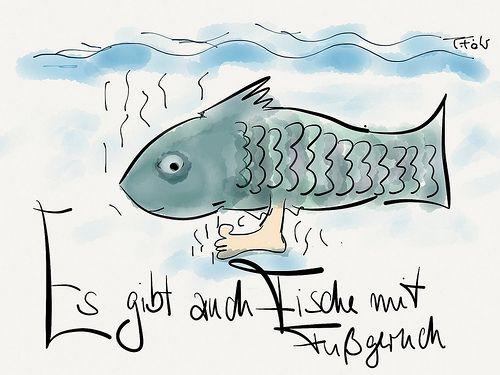 """Es gibt auch Fische mit Fussgeruch. """"Ich denke mit dem der Spruch 'der Fisch stinkt vom Kopf' lenken die Füsse nur von ihrem eigenen Geruch ab"""" Joachim Föhr"""