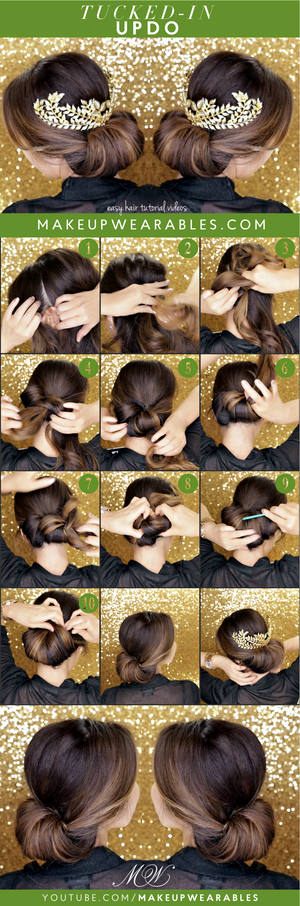 Elegant holiday easy hairstyles minute tuckin bun tutorial