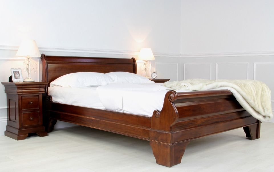 Best Mahogany Sleigh Bed King Size Bed 640 x 480
