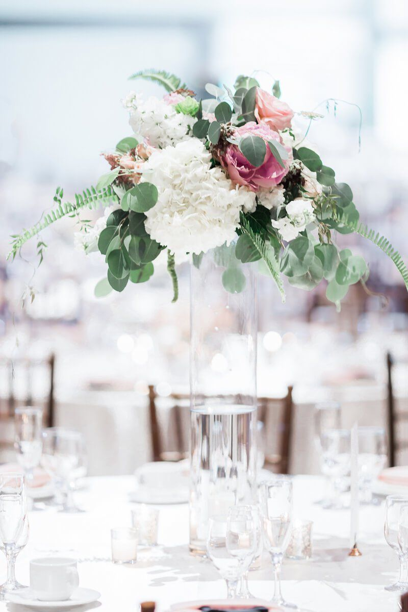 Blush Navy Indiana Wedding | Floral centerpieces, Centerpieces and ...