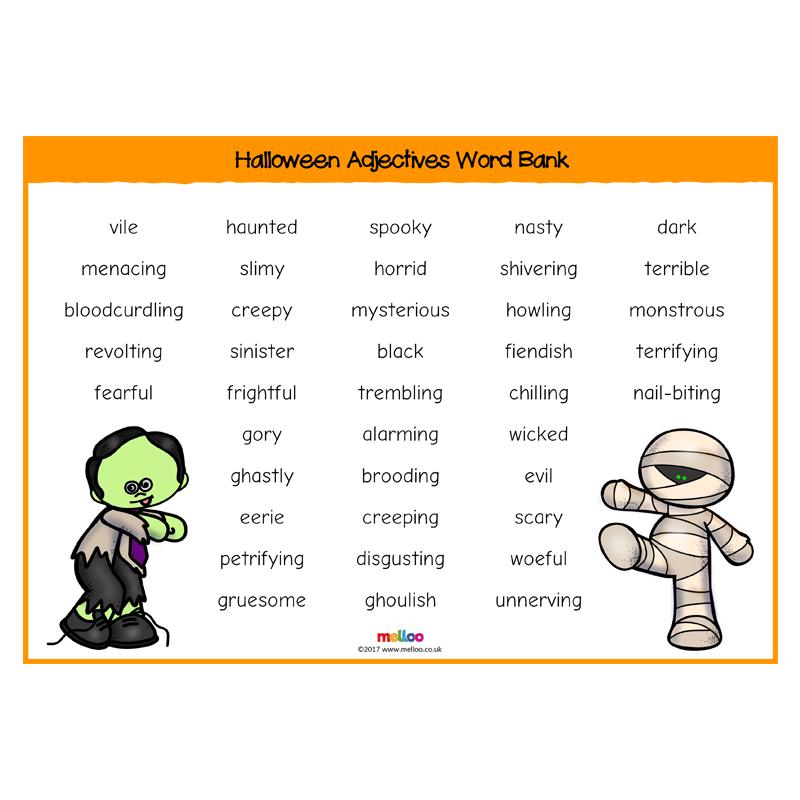 Related image Adjective words, Word bank, Halloween words