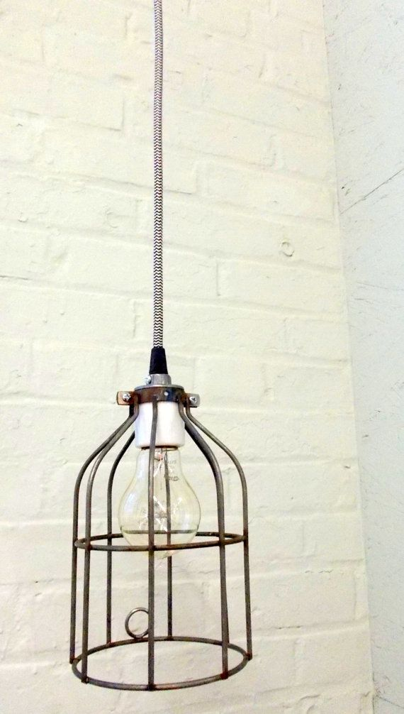 Industrial Hanging Cage Lamp Light with Antique Style Edison Bulb on Etsy, $75.00