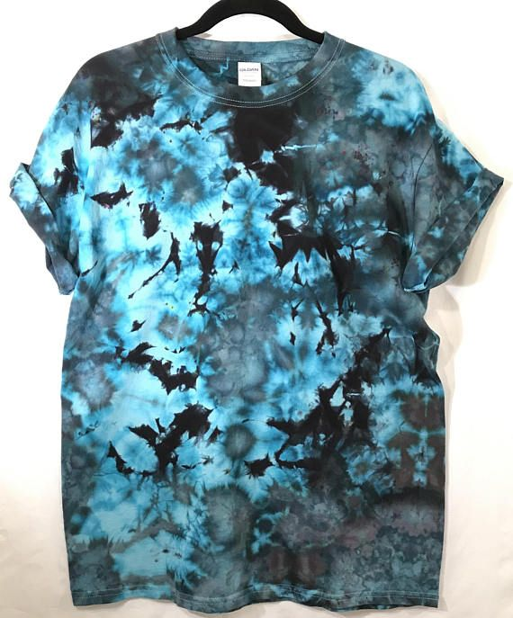 e5b3f88c0fc L Camo Ice Dye Tie Dye T Shirt Cool Unique Black   Turquoise