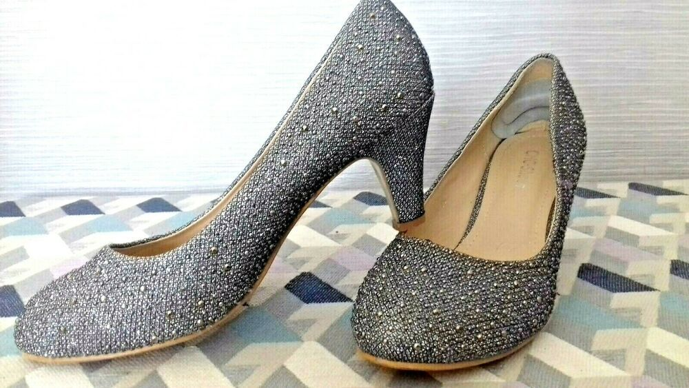 Size 5 Silver Heels Low Kitten Heel Silver Bead Dolly Shoes