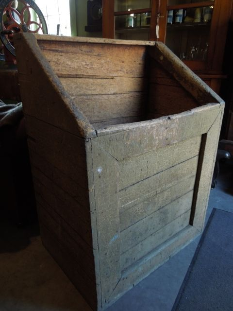 Attractive Fireplace Wood Box Part - 9: Firewood/Kindling Wood Box In Old Crackling Mustard Paint