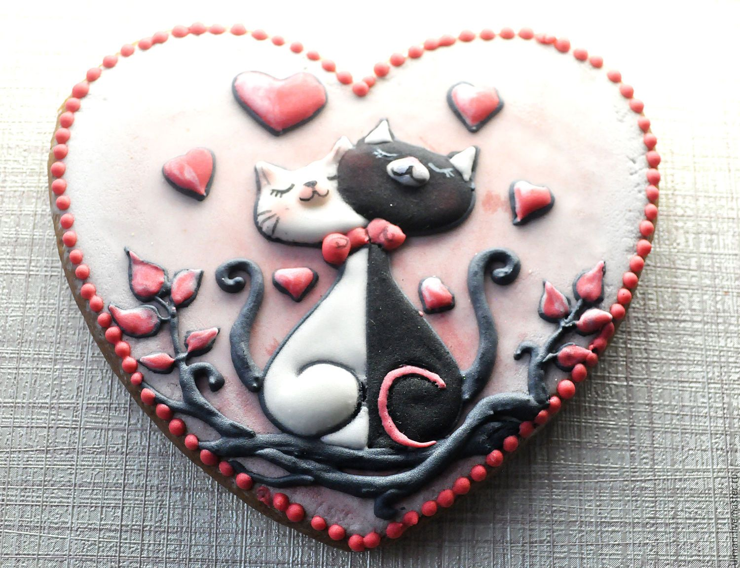Photo of Gingerbread Ginger Heart Cats in love. Cool …