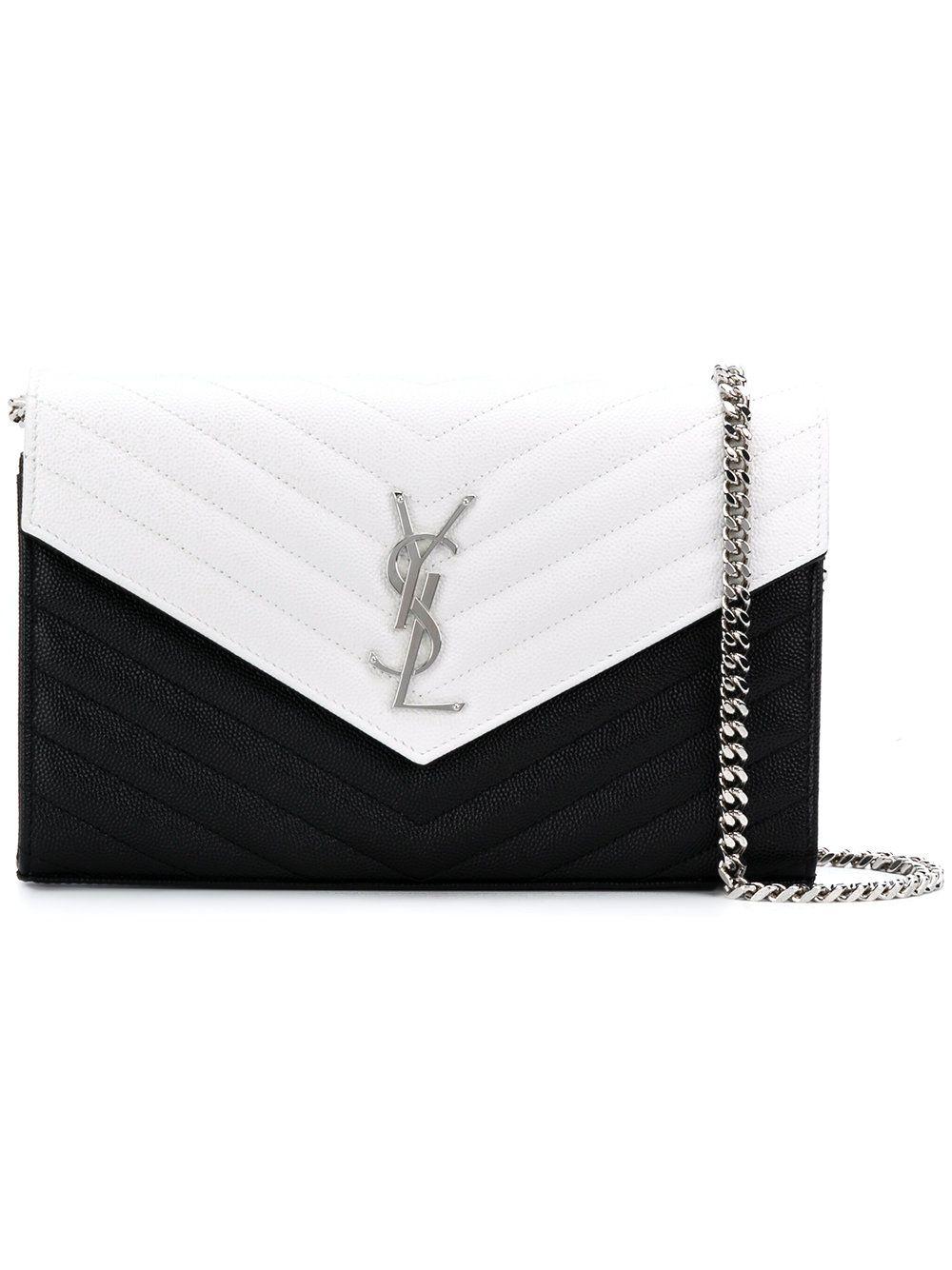 Saint Laurent bicolour monogram chain wallet Buy Cheap Release Dates Sale Sale Online 100% Authentic Really avGzX2
