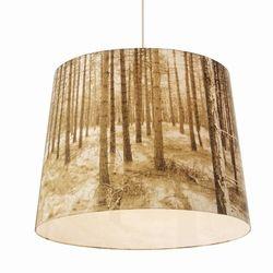 Lampenkap met afbeelding van het bos. Ook mogelijk met een afbeelding aan de binnenzijde van de lamp en de buitenzijde effen.