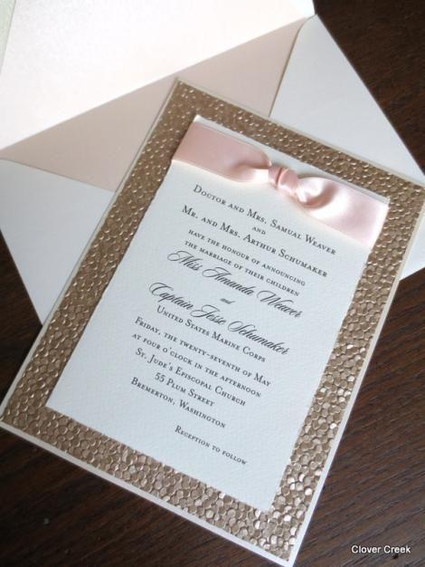 wedding invitations glamour elegant champagne invites shimmer blush luxury