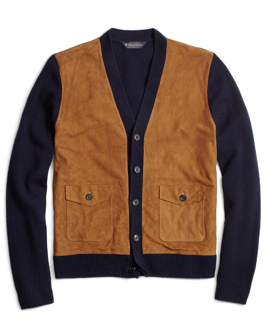 Men's Suede and Lambswool Button-Front Cardigan | Brooks Brothers ...