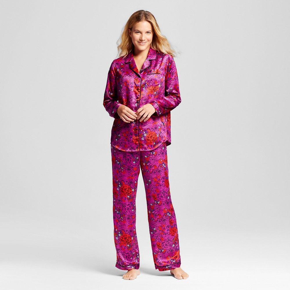 Women's Satin Pajama Set Purple XS