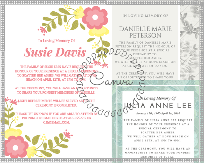 Delightful 39 Best Funeral Reception Invitations