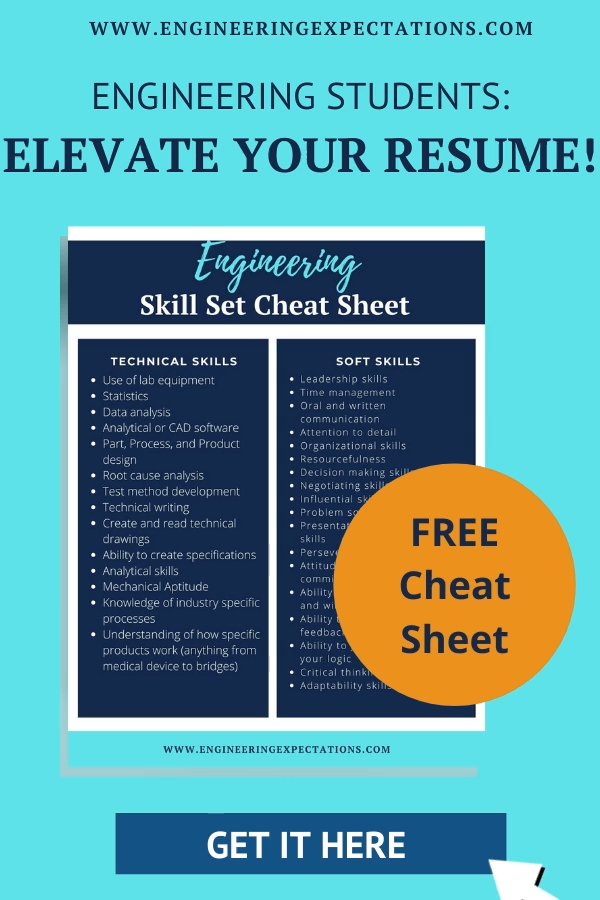 Elevate Your Engineering Resume With Skills Employers Are Looking For Free Cheat Sheet Video Engineering Resume Engineering Student Engineering Careers