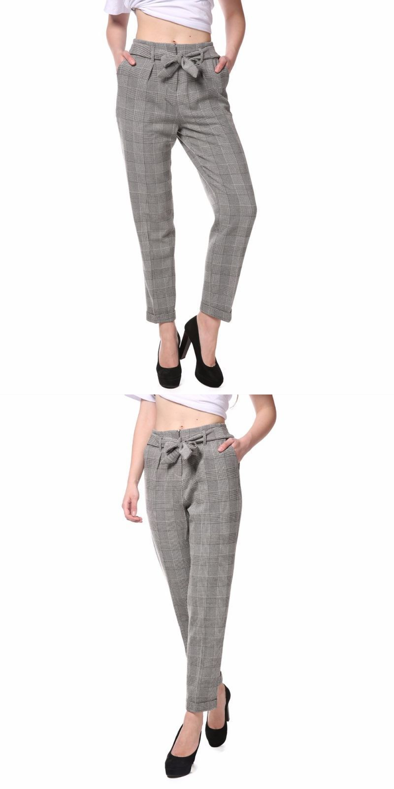 f95486ae810 Women casual plaid office lady pants female long straight trouser with sash  slim work wear trousers bottoms pt0002  women  full  length  mid  plaid   rayon ...
