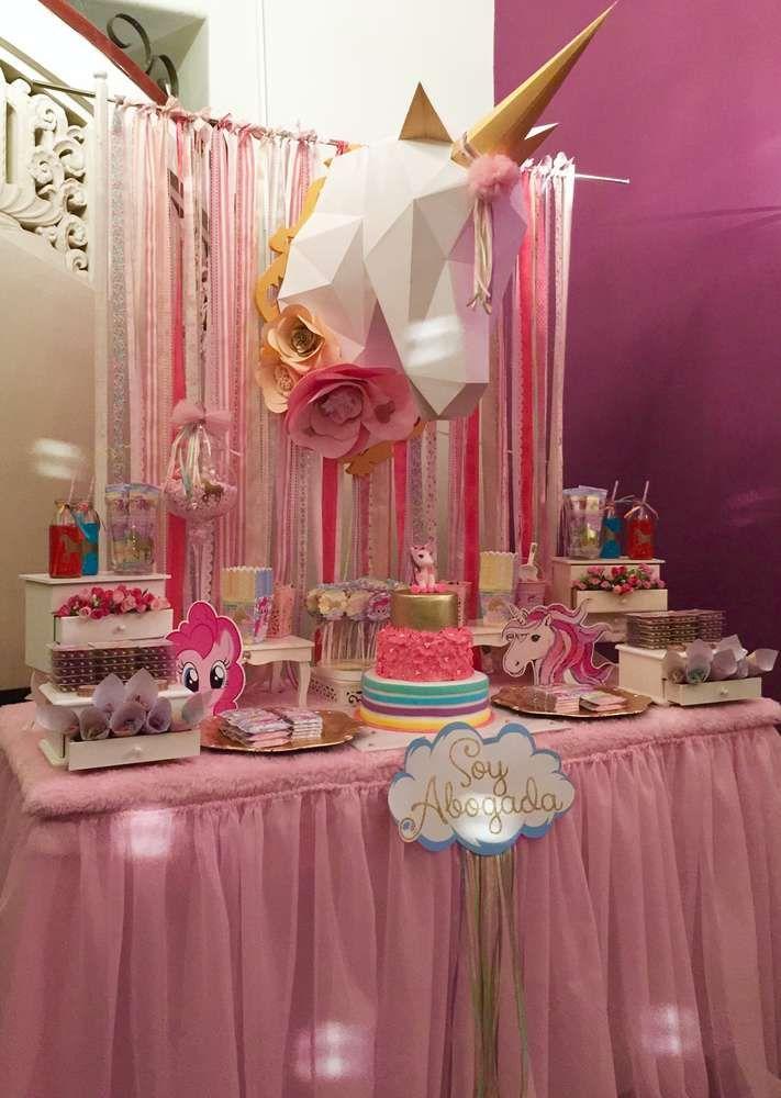 Unicorn And Pinkie Pie Unicornio Y Graduation End Of School Party Ideas