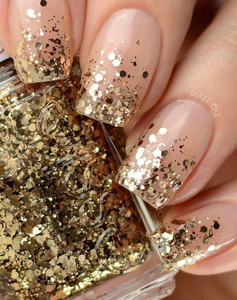 nude nails with gold ombre / gradient glitter tips (Essie Summit Of ...