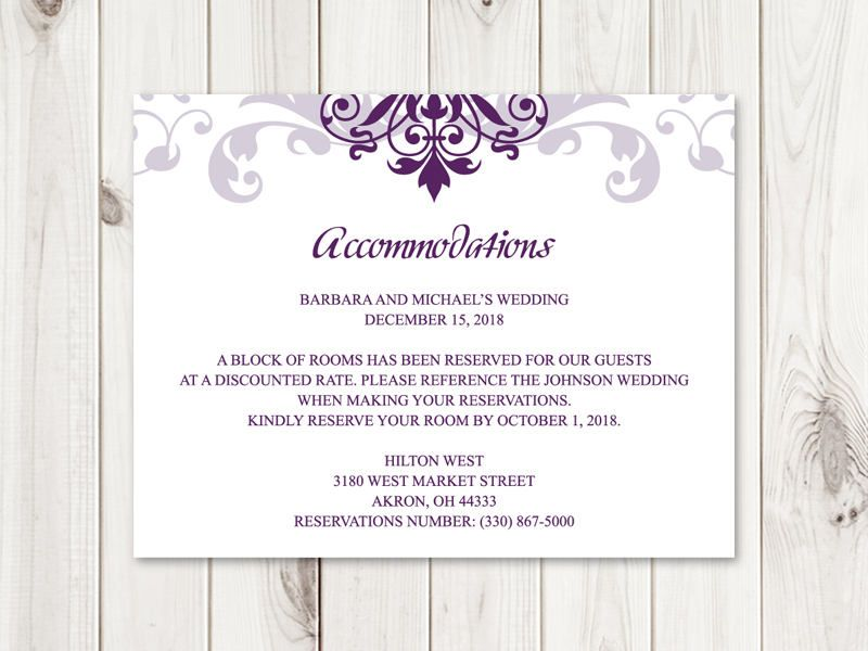 Classic Wedding Accommodations Card Template Elegant Etsy Accommodations Card Fun Wedding Invitations Wedding Address Labels