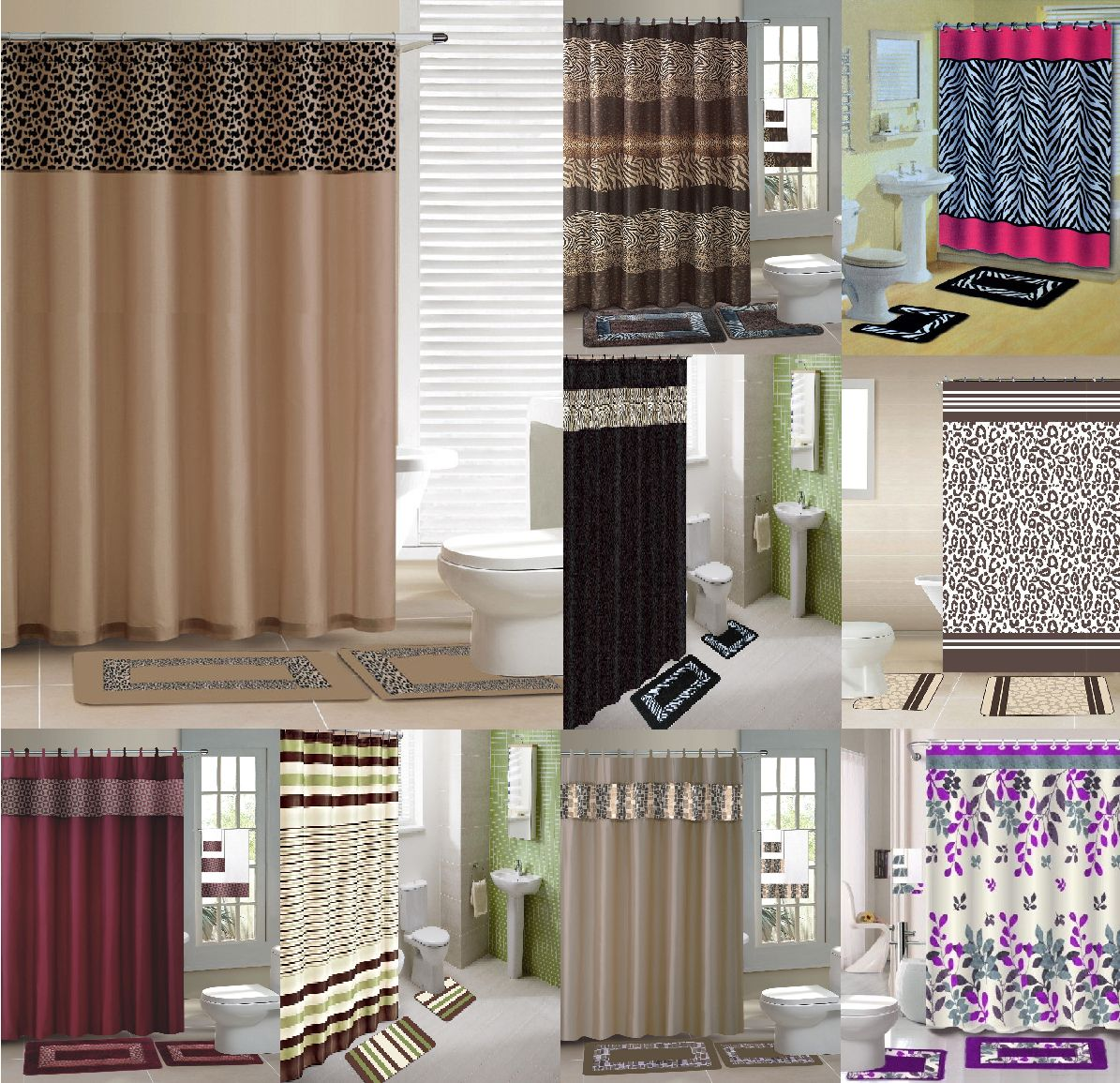 Pc shower curtain matching fabric hooks bath mats rugs complete