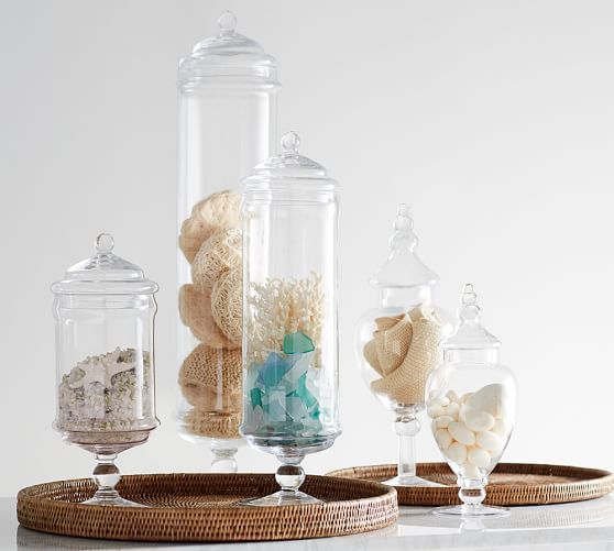 Decoration Ideas With Glass Bottles Pb Classic Glass Apothecary Jars  Pottery Barn  Medium For
