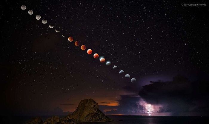 Лучшие научные фотографии прошлого года  Кровавая луна Хосе Антонио Хервас запечатлел полное затмение луны, которое попало на редчайшее явление, называемое «кровавой луной».