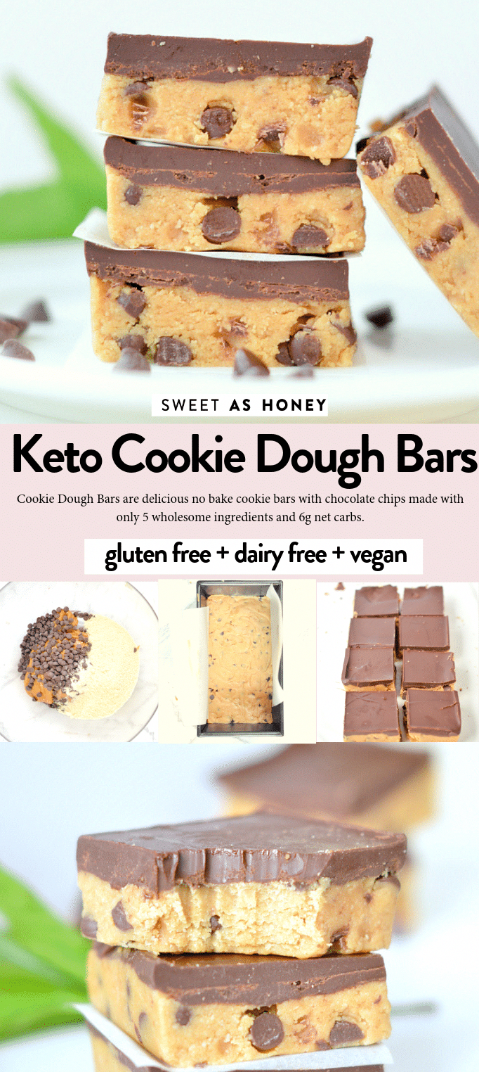 Keto Cookie dough bars no bake healthy peanut butter chocolate chips bars with only 5 ingredients. 100% keto + low carb + sugar free + gluten free and vegan.