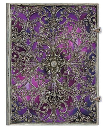 Paperblanks-Journal-Silver-Filigree-Aubergine-LINED-Ultra-7x9-Book-Purple-New