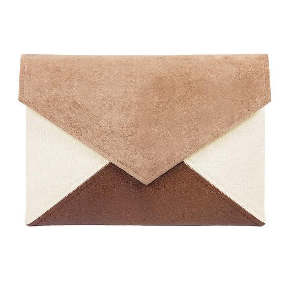 Clutch bag envelope beige toffi brown vegan leather bag faux leather suede purse handbag strap pocket zipped wedding bridesmaid evening gift