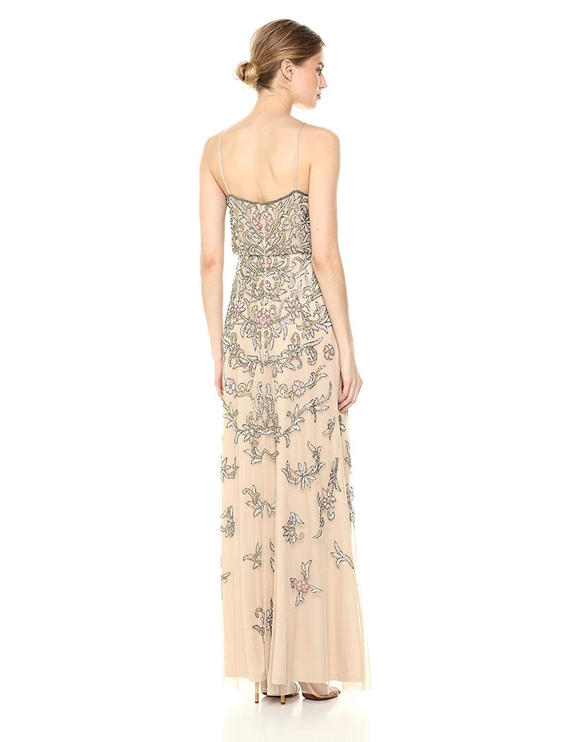 Adrianna Papell Womens Multi Colored Floral Beaded Blouson Gown