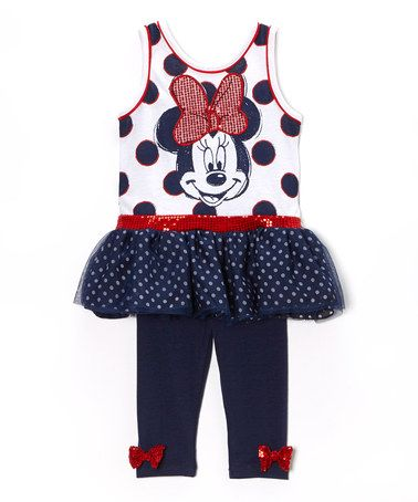 Another great find on #zulily! Blue Polka Dot Minnie Dress & Leggings - Toddler #zulilyfinds