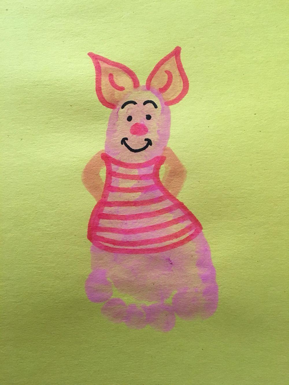 Piglet Footprint Piggy Memes Baby Footprint Art