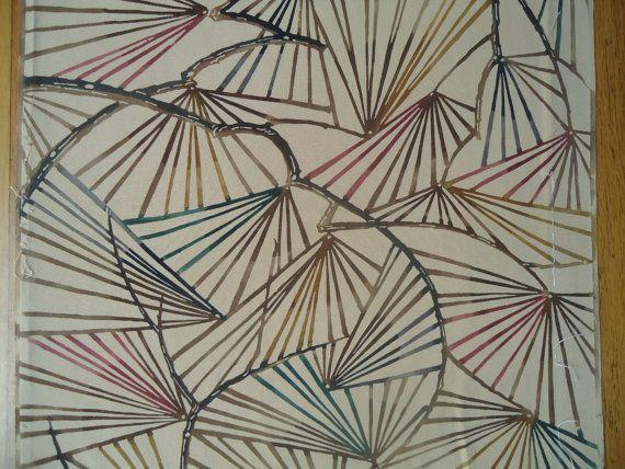 Vintage Kimono Silk Fabric Pine Sprays on Cream by SilkHouse, $10.99